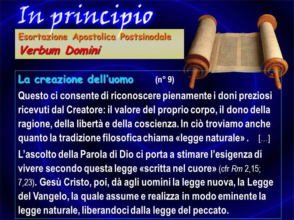 La creazione delluomo La creazione delluomo (n° 9) Questo ci consente di riconoscere pienamente i doni preziosi ricevuti dal Creatore: il valore del p