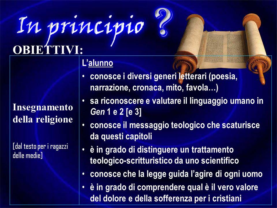 Insegnamento della religione [dal testo per i ragazzi delle medie] Lalunno conosce i diversi generi letterari (poesia, narrazione, cronaca, mito, favo
