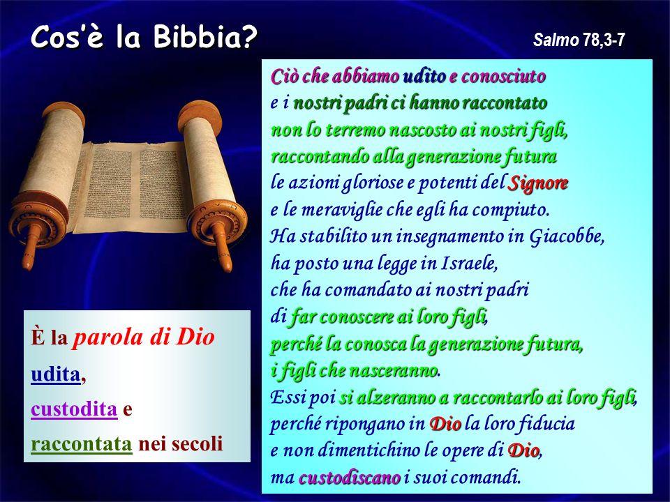 Cosè la Bibbia? È la parola di Dio udita, custodita e raccontata nei secoli Ciò che abbiamo udito e conosciuto nostri padri ci hanno raccontato e i no