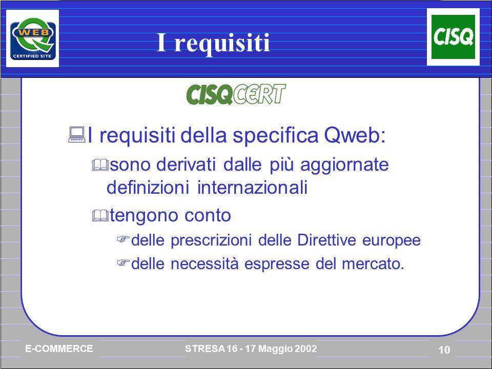 E-COMMERCE STRESA 16 - 17 Maggio 2002 10 I requisiti I requisiti della specifica Qweb: sono derivati dalle più aggiornate definizioni internazionali tengono conto delle prescrizioni delle Direttive europee delle necessità espresse del mercato.