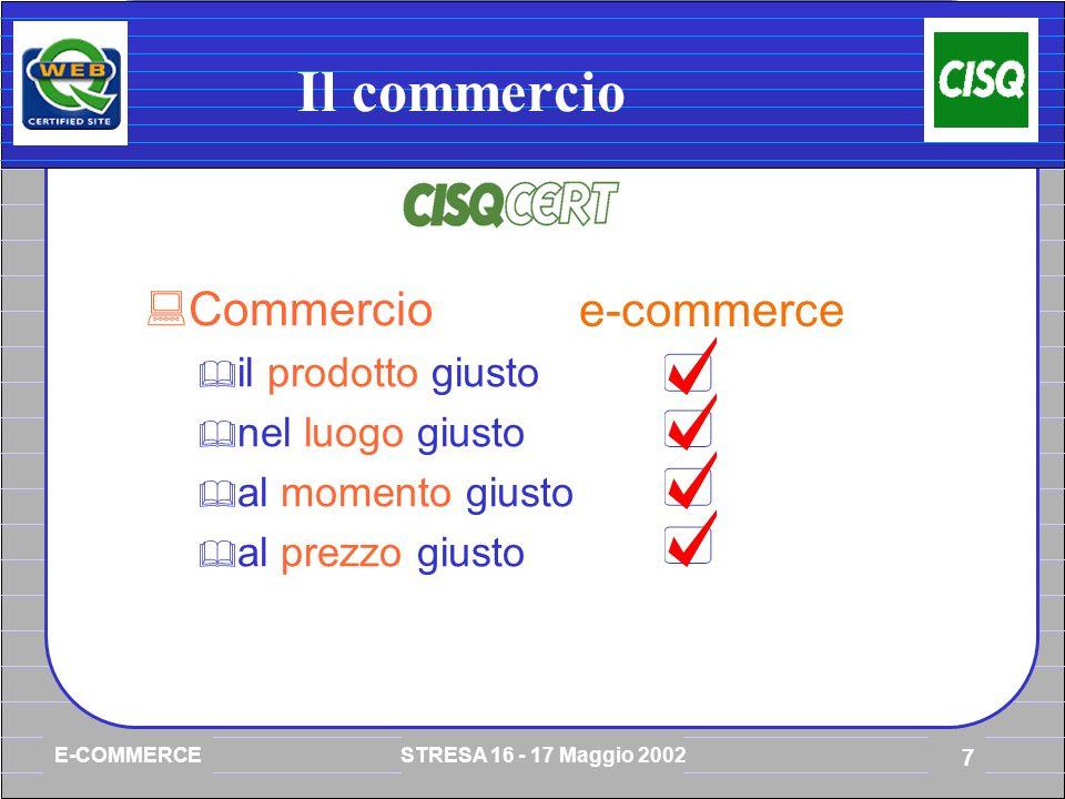 E-COMMERCE STRESA 16 - 17 Maggio 2002 7 Il commercio Commercio il prodotto giusto nel luogo giusto al momento giusto al prezzo giusto e-commerce