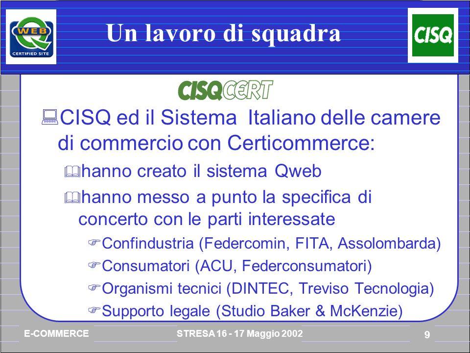 E-COMMERCE STRESA 16 - 17 Maggio 2002 9 Un lavoro di squadra CISQ ed il Sistema Italiano delle camere di commercio con Certicommerce: hanno creato il sistema Qweb hanno messo a punto la specifica di concerto con le parti interessate Confindustria (Federcomin, FITA, Assolombarda) Consumatori (ACU, Federconsumatori) Organismi tecnici (DINTEC, Treviso Tecnologia) Supporto legale (Studio Baker & McKenzie)