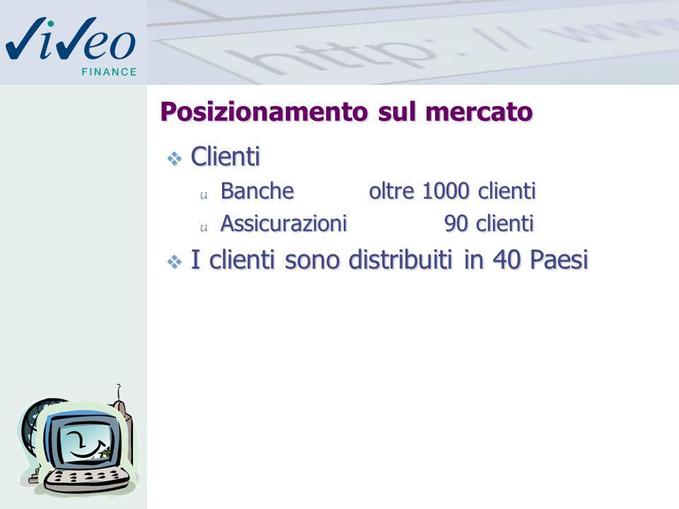 Posizionamento sul mercato Clienti Clienti u Bancheoltre 1000 clienti u Assicurazioni 90 clienti I clienti sono distribuiti in 40 Paesi I clienti sono distribuiti in 40 Paesi