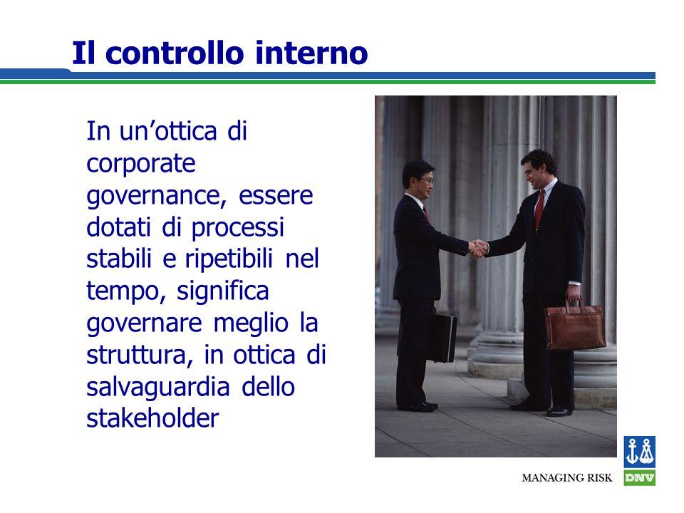 Il controllo interno In unottica di corporate governance, essere dotati di processi stabili e ripetibili nel tempo, significa governare meglio la struttura, in ottica di salvaguardia dello stakeholder