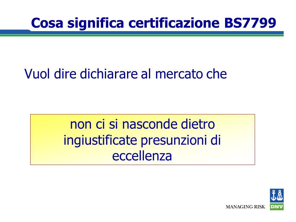 Cosa significa certificazione BS7799 Vuol dire dichiarare al mercato che non ci si nasconde dietro ingiustificate presunzioni di eccellenza