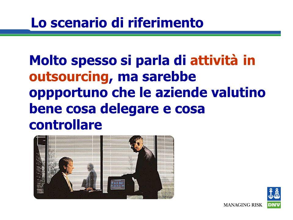 Lo scenario di riferimento Molto spesso si parla di attività in outsourcing, ma sarebbe oppportuno che le aziende valutino bene cosa delegare e cosa controllare
