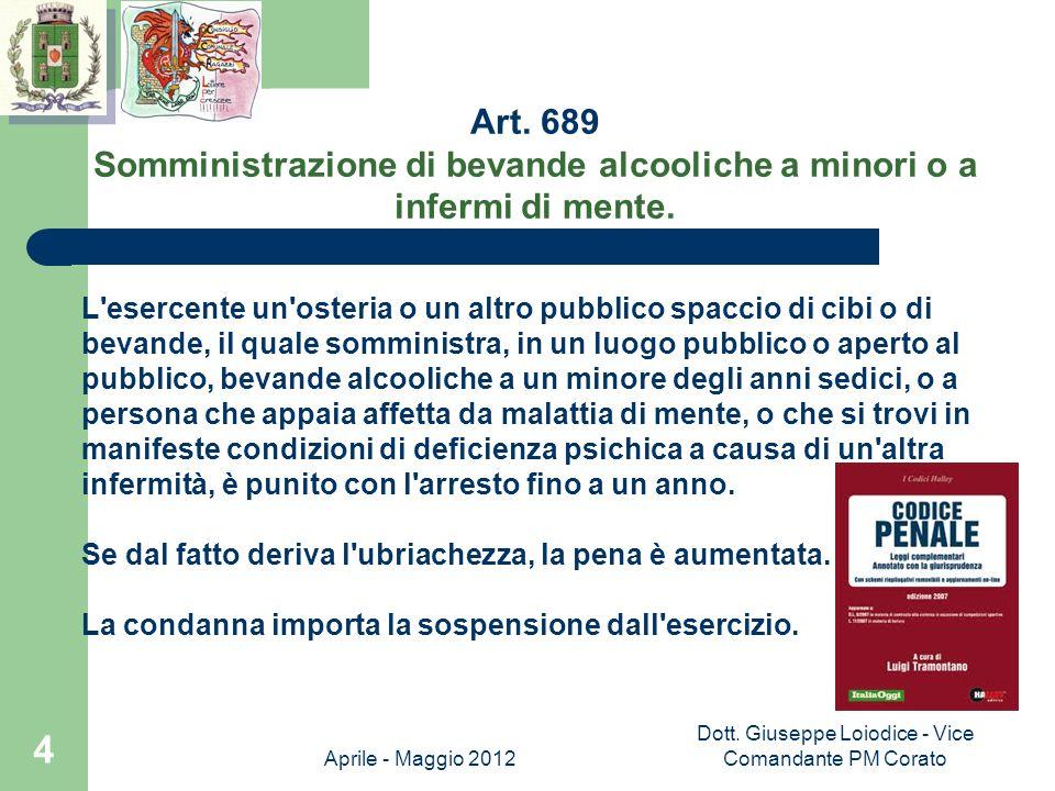 Aprile - Maggio 2012 Dott.Giuseppe Loiodice - Vice Comandante PM Corato 5 Art.