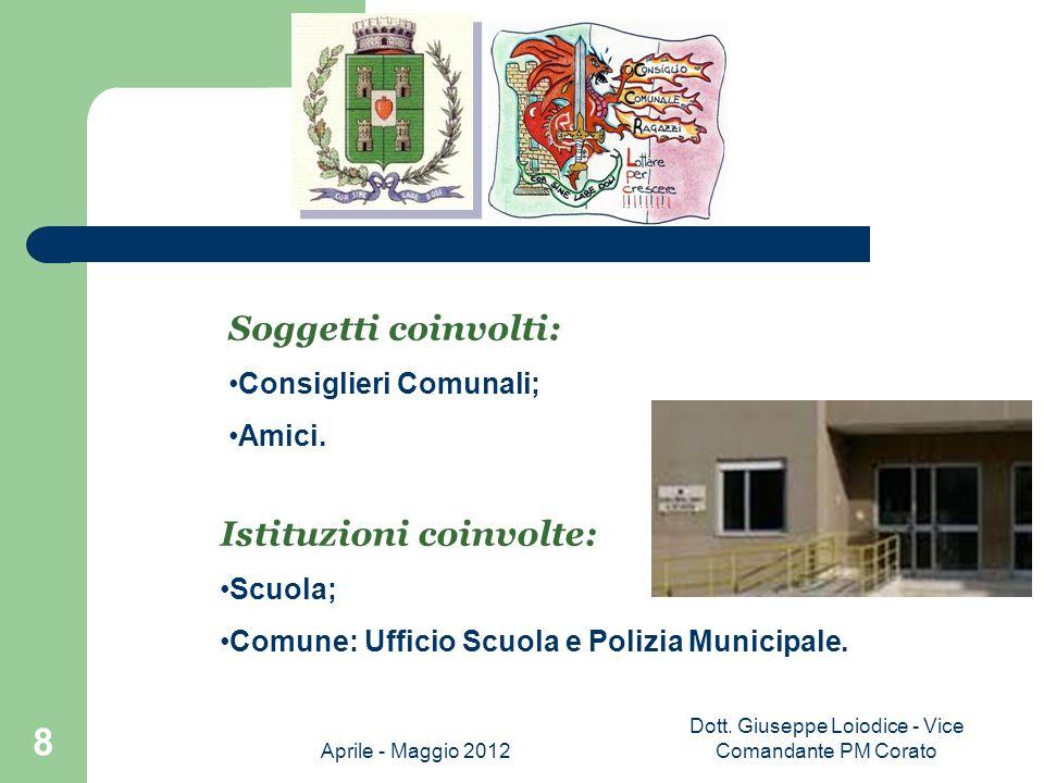 Aprile - Maggio 2012 Dott. Giuseppe Loiodice - Vice Comandante PM Corato 19