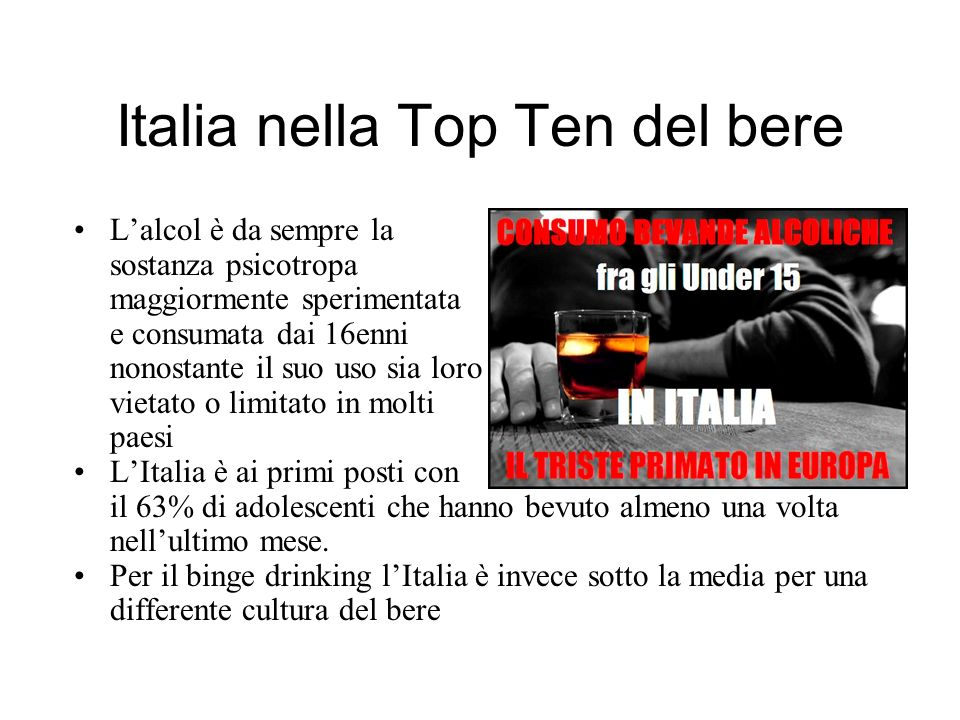 Italia nella Top Ten del bere Lalcol è da sempre la sostanza psicotropa maggiormente sperimentata e consumata dai 16enni nonostante il suo uso sia loro vietato o limitato in molti paesi LItalia è ai primi posti con il 63% di adolescenti che hanno bevuto almeno una volta nellultimo mese.
