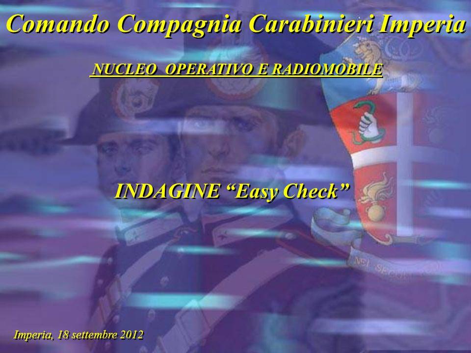 Comando Compagnia Carabinieri Imperia NUCLEO OPERATIVO E RADIOMOBILE Comando Compagnia Carabinieri Imperia NUCLEO OPERATIVO E RADIOMOBILE Imperia, 18 settembre 2012 INDAGINE Easy Check