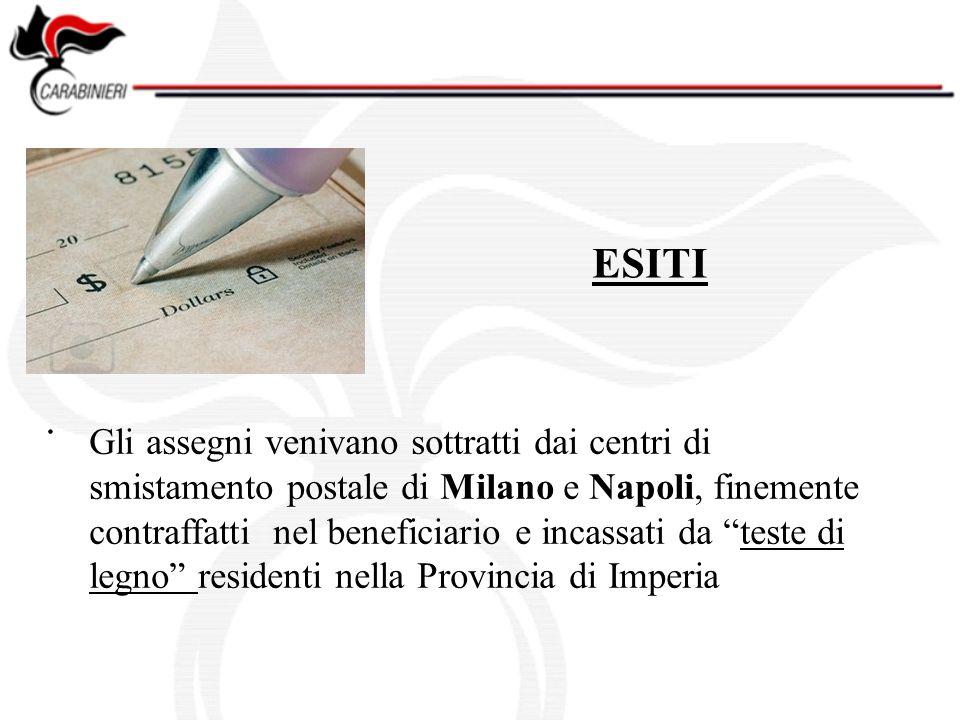 . ESITI Gli assegni venivano sottratti dai centri di smistamento postale di Milano e Napoli, finemente contraffatti nel beneficiario e incassati da teste di legno residenti nella Provincia di Imperia