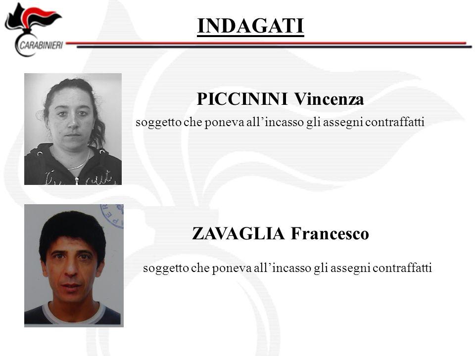 PICCININI Vincenza INDAGATI ZAVAGLIA Francesco soggetto che poneva allincasso gli assegni contraffatti