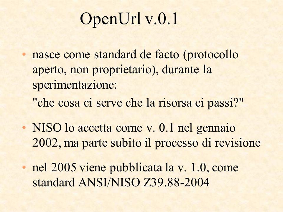 OpenUrl v.0.1 nasce come standard de facto (protocollo aperto, non proprietario), durante la sperimentazione: che cosa ci serve che la risorsa ci passi NISO lo accetta come v.