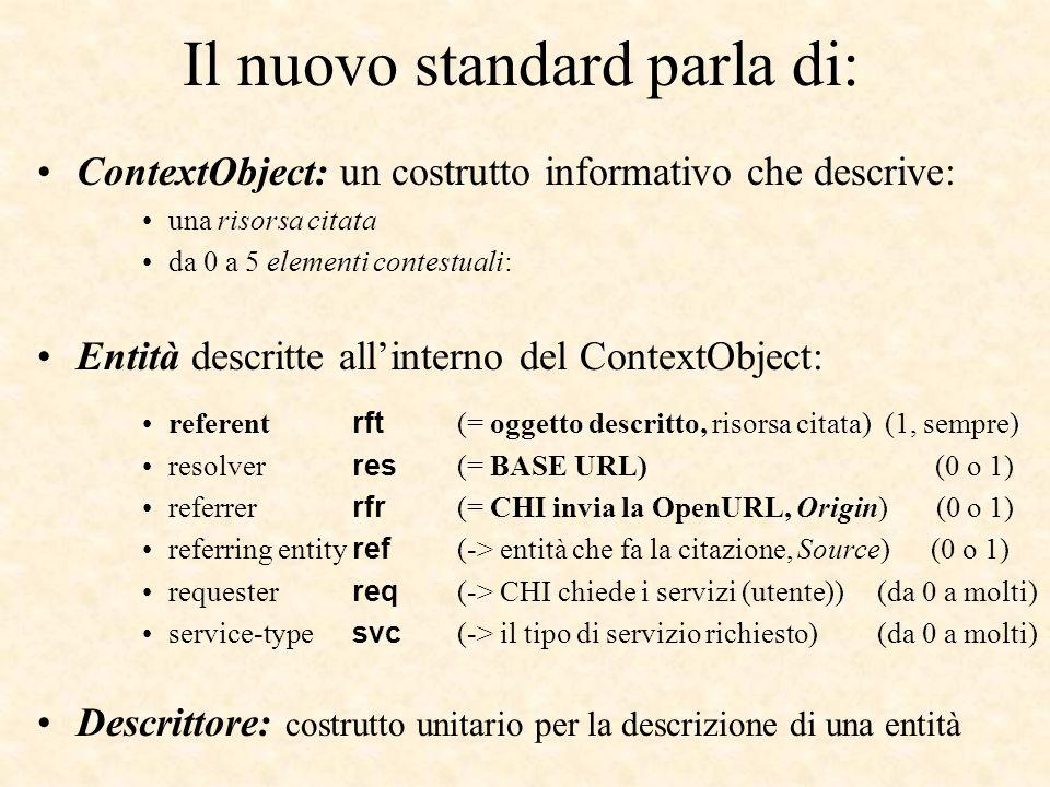 Il nuovo standard parla di: ContextObject: un costrutto informativo che descrive: una risorsa citata da 0 a 5 elementi contestuali: Entità descritte allinterno del ContextObject: referent rft (= oggetto descritto, risorsa citata) (1, sempre) resolver res (= BASE URL) (0 o 1) referrer rfr (= CHI invia la OpenURL, Origin) (0 o 1) referring entity ref (-> entità che fa la citazione, Source) (0 o 1) requester req (-> CHI chiede i servizi (utente))(da 0 a molti) service-type svc (-> il tipo di servizio richiesto)(da 0 a molti) Descrittore: costrutto unitario per la descrizione di una entità