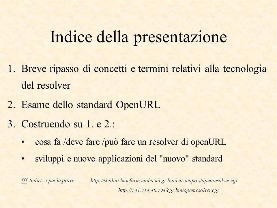 Indice della presentazione 1.Breve ripasso di concetti e termini relativi alla tecnologia del resolver 2.Esame dello standard OpenURL 3.Costruendo su