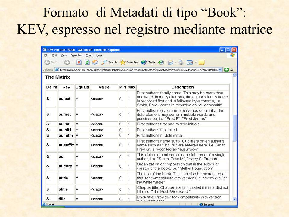 Formato di Metadati di tipo Book: KEV, espresso nel registro mediante matrice