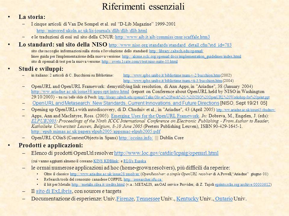Riferimenti essenziali La storia: –I cinque articoli di Van De Sompel et al. sul D-Lib Magazine 1999-2001 http://mirrored.ukoln.ac.uk/lis-journals/dli