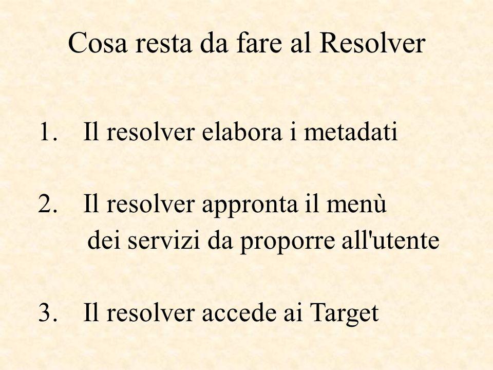Cosa resta da fare al Resolver 1. Il resolver elabora i metadati 2. Il resolver appronta il menù dei servizi da proporre all'utente 3. Il resolver acc