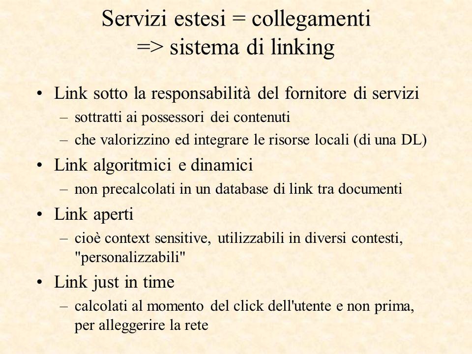 Link sotto la responsabilità del fornitore di servizi –sottratti ai possessori dei contenuti –che valorizzino ed integrare le risorse locali (di una D