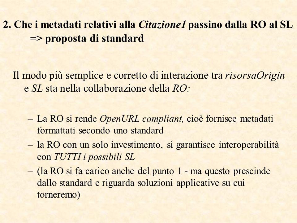OpenUrl v.0.1 nasce come standard de facto (protocollo aperto, non proprietario), durante la sperimentazione: che cosa ci serve che la risorsa ci passi? NISO lo accetta come v.