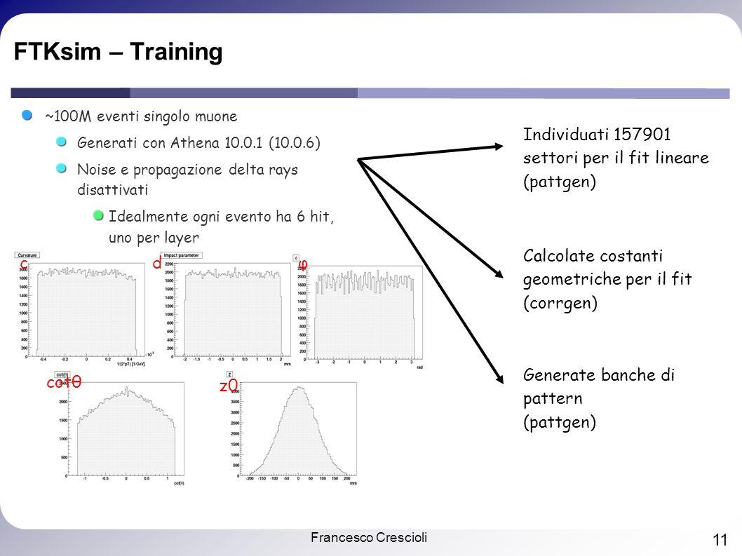 Francesco Crescioli 11 FTKsim – Training ~100M eventi singolo muone Generati con Athena 10.0.1 (10.0.6) Noise e propagazione delta rays disattivati Idealmente ogni evento ha 6 hit, uno per layer cdφ cotθ z0 Individuati 157901 settori per il fit lineare (pattgen) Calcolate costanti geometriche per il fit (corrgen) Generate banche di pattern (pattgen)
