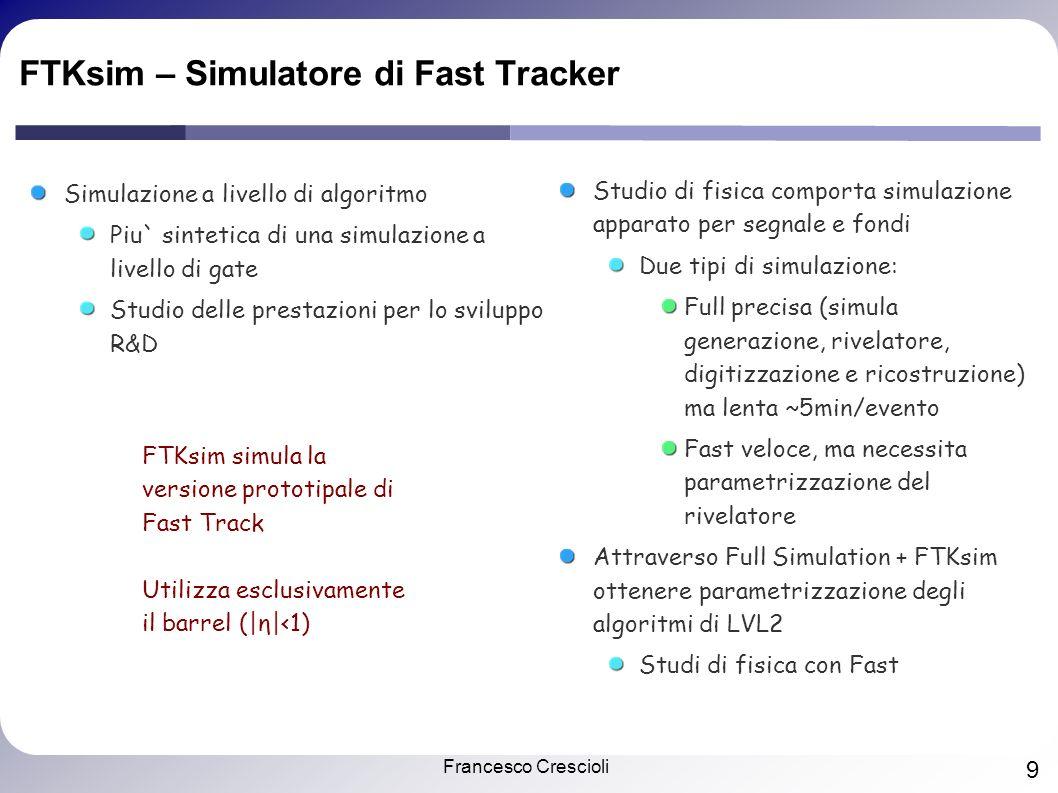 Francesco Crescioli 9 FTKsim – Simulatore di Fast Tracker Simulazione a livello di algoritmo Piu` sintetica di una simulazione a livello di gate Studio delle prestazioni per lo sviluppo R&D FTKsim simula la versione prototipale di Fast Track Utilizza esclusivamente il barrel (|η|<1) Studio di fisica comporta simulazione apparato per segnale e fondi Due tipi di simulazione: Full precisa (simula generazione, rivelatore, digitizzazione e ricostruzione) ma lenta ~5min/evento Fast veloce, ma necessita parametrizzazione del rivelatore Attraverso Full Simulation + FTKsim ottenere parametrizzazione degli algoritmi di LVL2 Studi di fisica con Fast