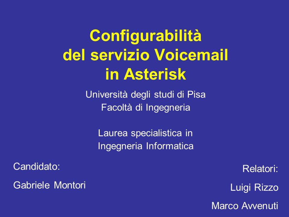 Configurabilità del servizio Voicemail in Asterisk Università degli studi di Pisa Facoltà di Ingegneria Laurea specialistica in Ingegneria Informatica