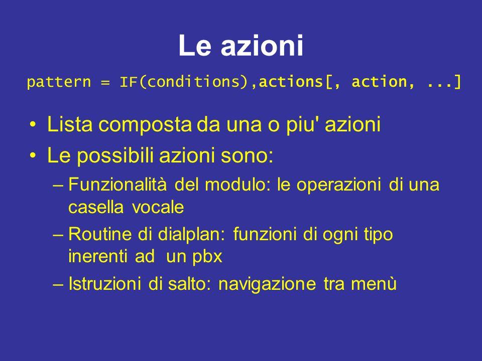 Le azioni Lista composta da una o piu' azioni Le possibili azioni sono: –Funzionalità del modulo: le operazioni di una casella vocale –Routine di dial