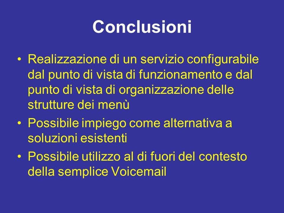 Conclusioni Realizzazione di un servizio configurabile dal punto di vista di funzionamento e dal punto di vista di organizzazione delle strutture dei menù Possibile impiego come alternativa a soluzioni esistenti Possibile utilizzo al di fuori del contesto della semplice Voicemail