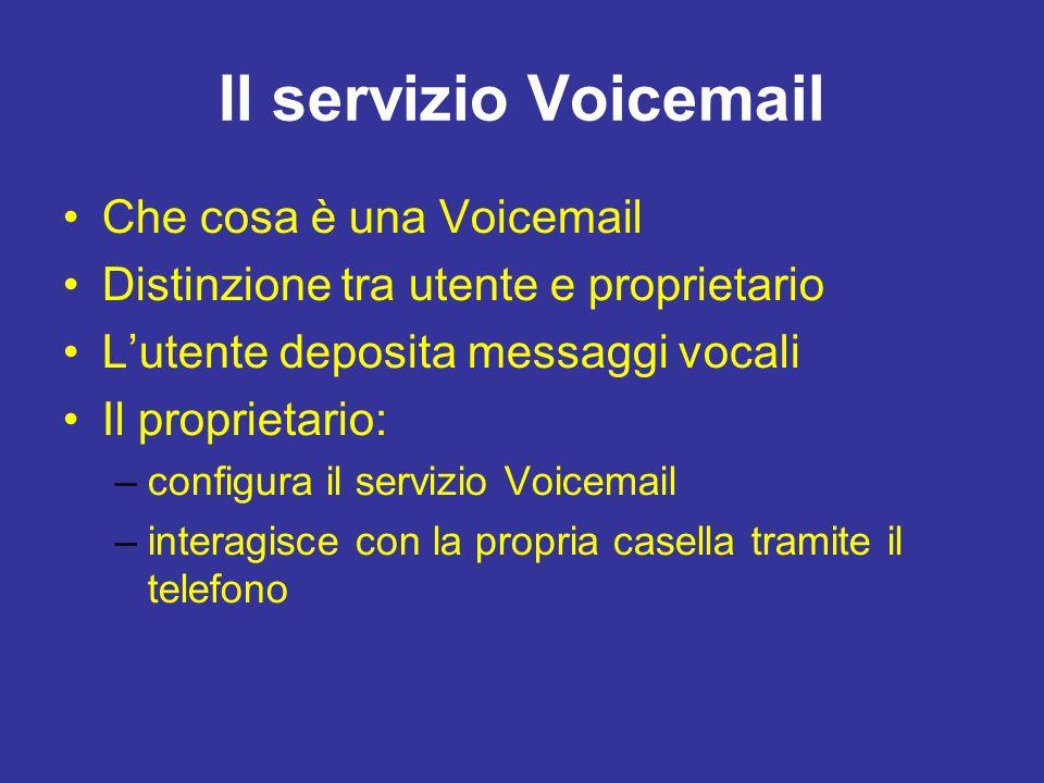 Il servizio Voicemail Che cosa è una Voicemail Distinzione tra utente e proprietario Lutente deposita messaggi vocali Il proprietario: –configura il servizio Voicemail –interagisce con la propria casella tramite il telefono