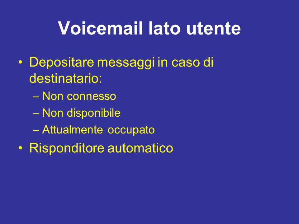 Voicemail lato utente Depositare messaggi in caso di destinatario: –Non connesso –Non disponibile –Attualmente occupato Risponditore automatico