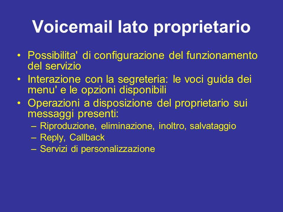 Voicemail lato proprietario Possibilita' di configurazione del funzionamento del servizio Interazione con la segreteria: le voci guida dei menu' e le