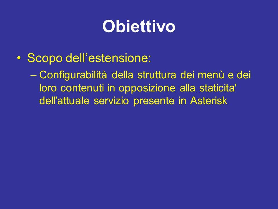 Obiettivo Scopo dellestensione: –Configurabilità della struttura dei menù e dei loro contenuti in opposizione alla staticita dell attuale servizio presente in Asterisk