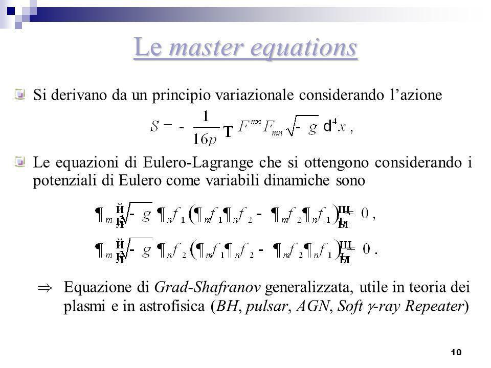 10 Le master equations Si derivano da un principio variazionale considerando lazione Le equazioni di Eulero-Lagrange che si ottengono considerando i p
