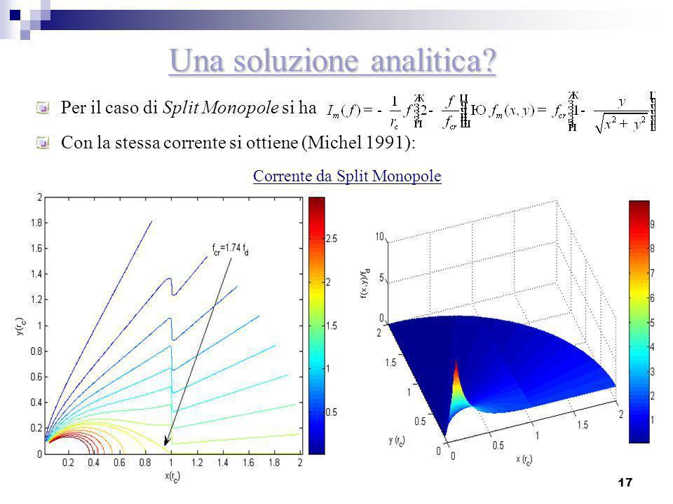 17 Una soluzione analitica? Per il caso di Split Monopole si ha Con la stessa corrente si ottiene (Michel 1991): Corrente da Split Monopole