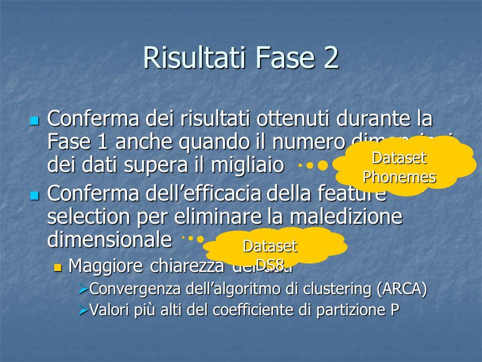 Risultati Fase 2 Conferma dei risultati ottenuti durante la Fase 1 anche quando il numero dimensioni dei dati supera il migliaio Conferma dei risultat