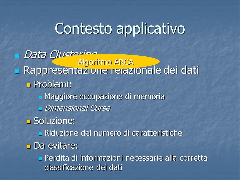 Contesto applicativo Data Clustering Data Clustering Rappresentazione relazionale dei dati Rappresentazione relazionale dei dati Problemi: Problemi: M