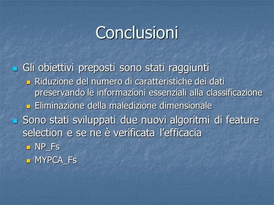 Conclusioni Gli obiettivi preposti sono stati raggiunti Gli obiettivi preposti sono stati raggiunti Riduzione del numero di caratteristiche dei dati p