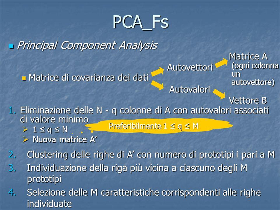 PCA_Fs 1.Eliminazione delle N - q colonne di A con autovalori associati di valore minimo 1 q N 1 q N Nuova matrice A Nuova matrice A Principal Compone