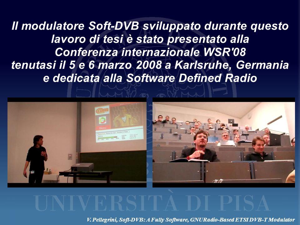 Il modulatore Soft-DVB sviluppato durante questo lavoro di tesi è stato presentato alla Conferenza internazionale WSR'08 tenutasi il 5 e 6 marzo 2008