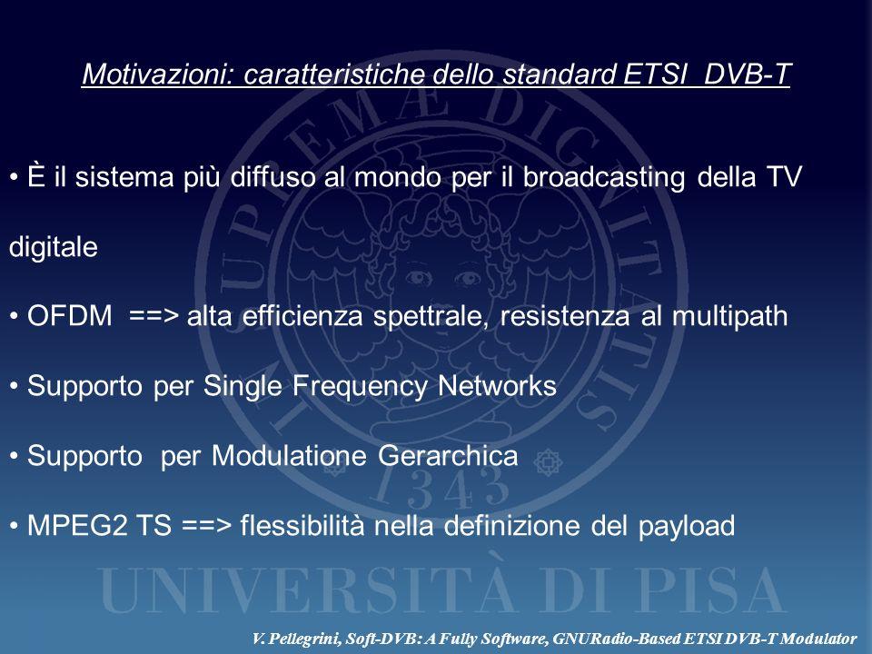 Motivazioni: caratteristiche dello standard ETSI DVB-T È il sistema più diffuso al mondo per il broadcasting della TV digitale OFDM ==> alta efficienz