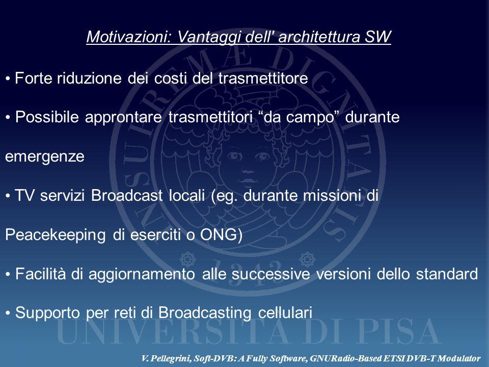 Motivazioni: Vantaggi dell' architettura SW Forte riduzione dei costi del trasmettitore Possibile approntare trasmettitori da campo durante emergenze