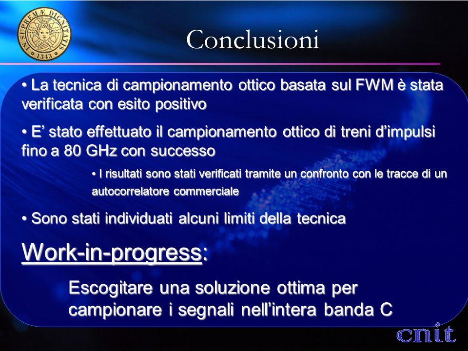 Conclusioni La tecnica di campionamento ottico basata sul FWM è stata verificata con esito positivo La tecnica di campionamento ottico basata sul FWM è stata verificata con esito positivo E stato effettuato il campionamento ottico di treni dimpulsi fino a 80 GHz con successo E stato effettuato il campionamento ottico di treni dimpulsi fino a 80 GHz con successo I risultati sono stati verificati tramite un confronto con le tracce di un autocorrelatore commerciale I risultati sono stati verificati tramite un confronto con le tracce di un autocorrelatore commerciale Sono stati individuati alcuni limiti della tecnica Sono stati individuati alcuni limiti della tecnica Work-in-progress: Escogitare una soluzione ottima per campionare i segnali nellintera banda C