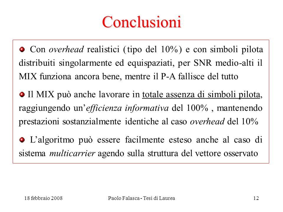 18 febbraio 2008Paolo Falasca - Tesi di Laurea12 Conclusioni Con overhead realistici ( tipo del 10% ) e con simboli pilota distribuiti singolarmente ed equispaziati, per SNR medio-alti il MIX funziona ancora bene, mentre il P-A fallisce del tutto Il MIX può anche lavorare in totale assenza di simboli pilota, raggiungendo unefficienza informativa del 100%, mantenendo prestazioni sostanzialmente identiche al caso overhead del 10% Lalgoritmo può essere facilmente esteso anche al caso di sistema multicarrier agendo sulla struttura del vettore osservato