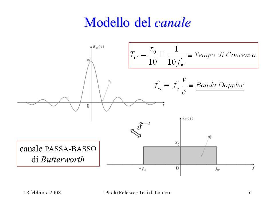 18 febbraio 2008Paolo Falasca - Tesi di Laurea6 Modello del canale canale PASSA-BASSO di Butterworth