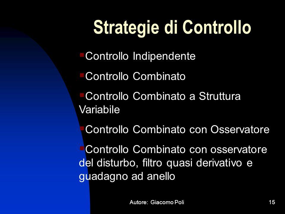 Autore: Giacomo Poli15 Strategie di Controllo Controllo Indipendente Controllo Combinato Controllo Combinato a Struttura Variabile Controllo Combinato