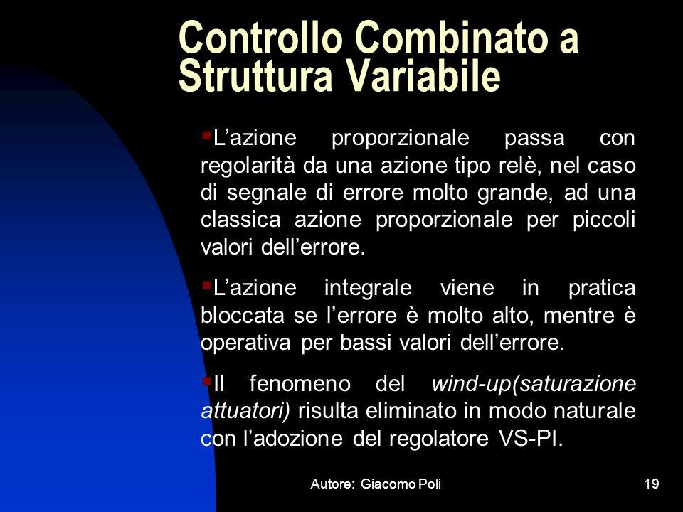 Autore: Giacomo Poli19 Controllo Combinato a Struttura Variabile Lazione proporzionale passa con regolarità da una azione tipo relè, nel caso di segna