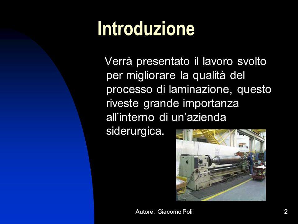 Autore: Giacomo Poli3 Argomenti Trattati Modellizzazione del Laminatoio Controllo del Laminatoio Implementazione Matlab Interfaccia Grafica Esempi di Simulazioni