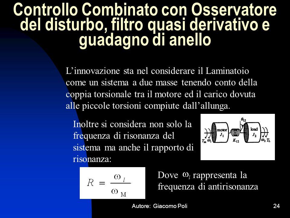 Autore: Giacomo Poli24 Controllo Combinato con Osservatore del disturbo, filtro quasi derivativo e guadagno di anello Linnovazione sta nel considerare