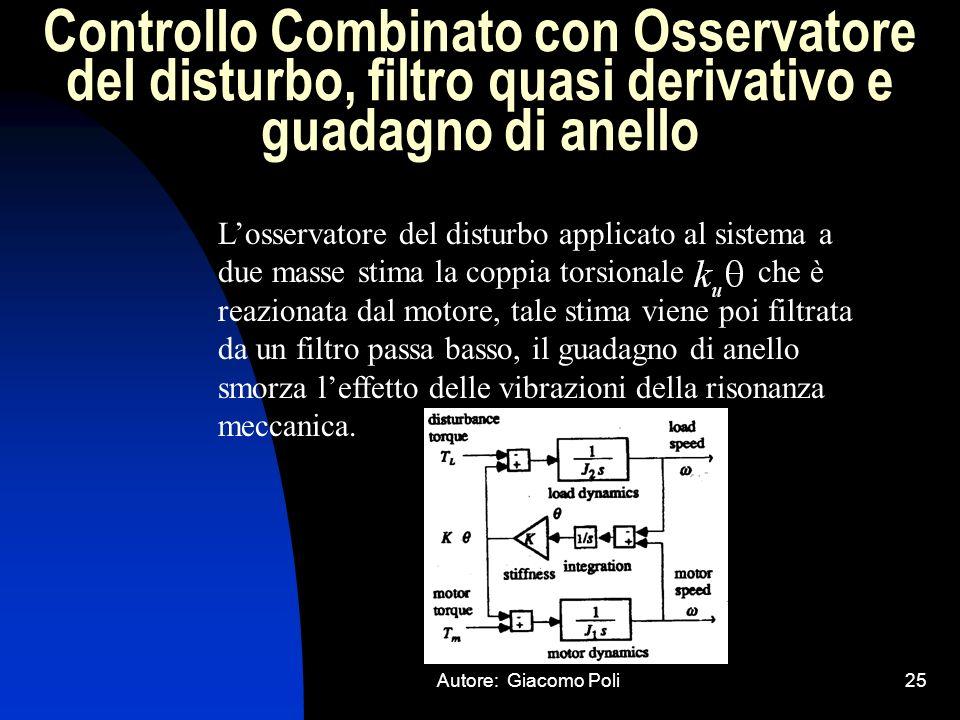 Autore: Giacomo Poli25 Controllo Combinato con Osservatore del disturbo, filtro quasi derivativo e guadagno di anello Losservatore del disturbo applic